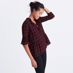 Madewell Buffalo Plaid Peplum Top